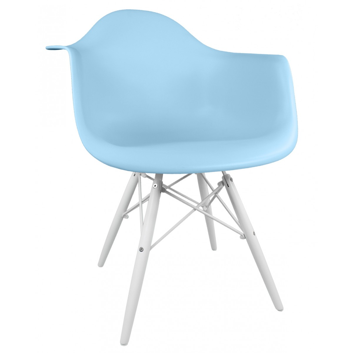 Superb img of  Molded Light Blue Plastic Accent Arm Chair with White Wood Eiffel Legs with #2C759F color and 1200x1200 pixels