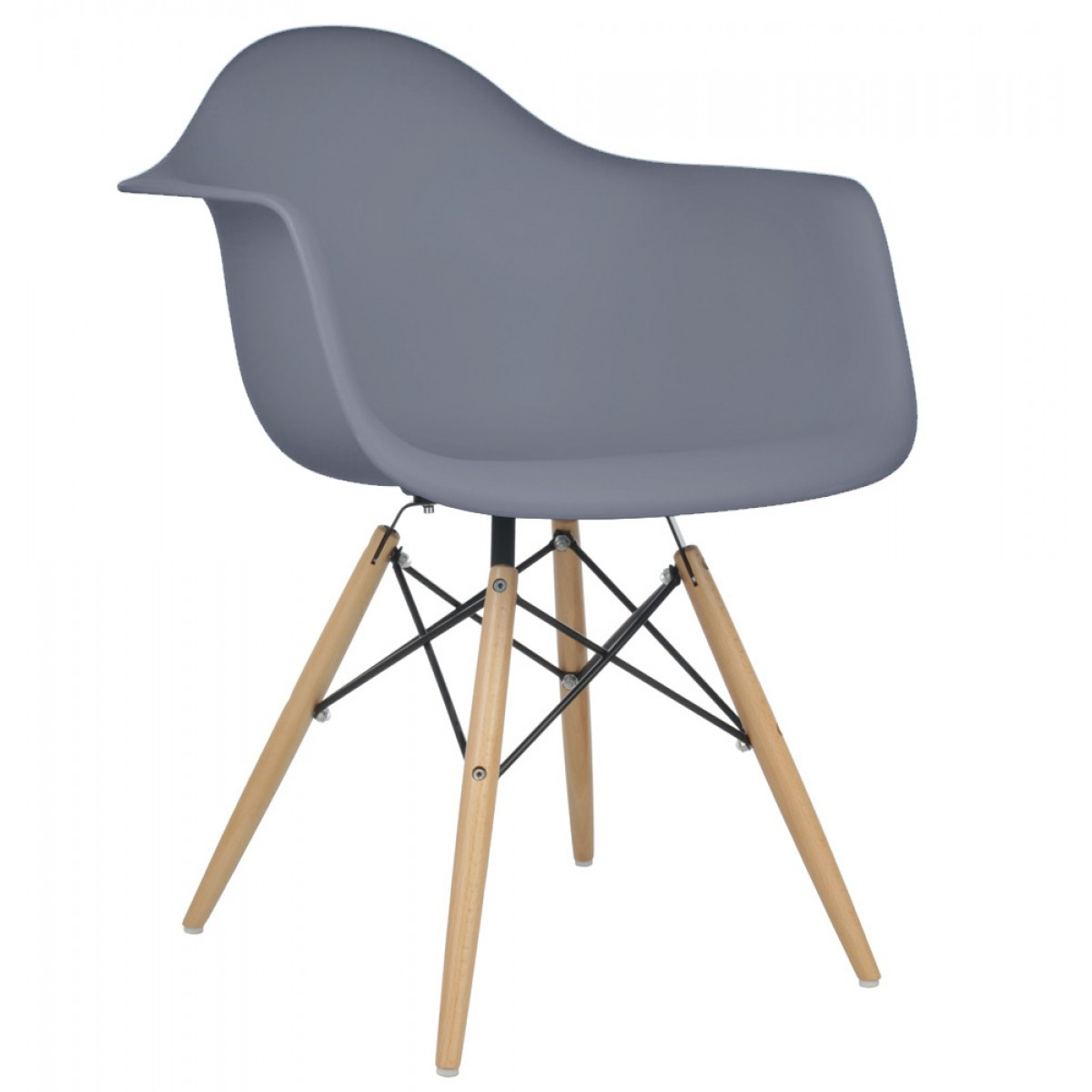 Eames style daw dark gray plastic dining armchair with for Plastic modern chairs