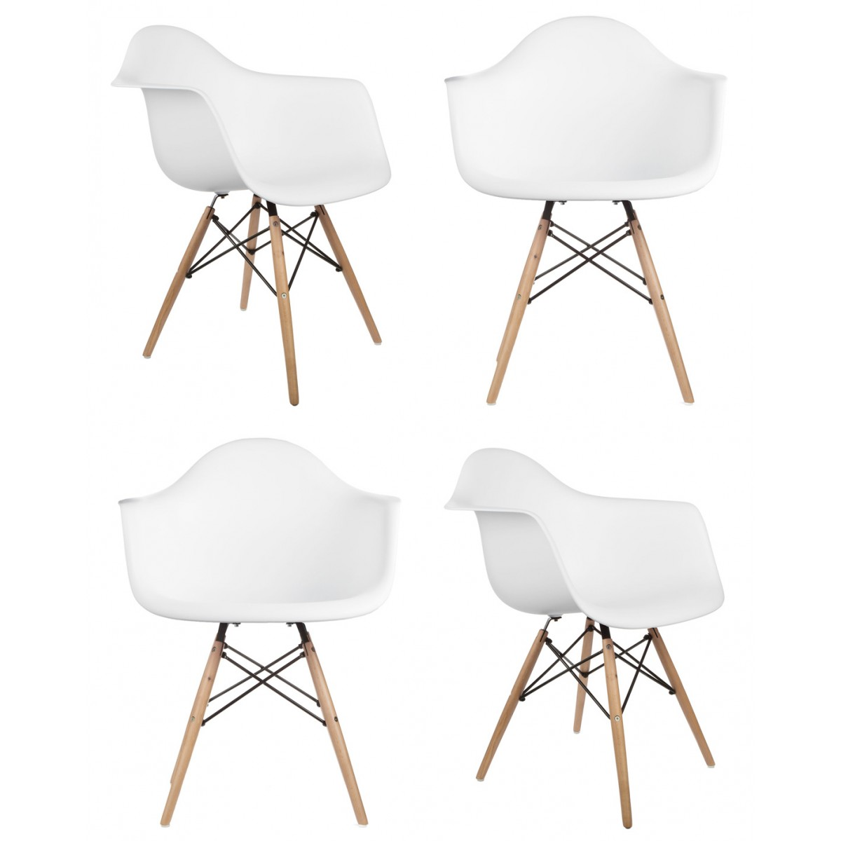 set of 4 eames style daw molded white plastic dining armchair with