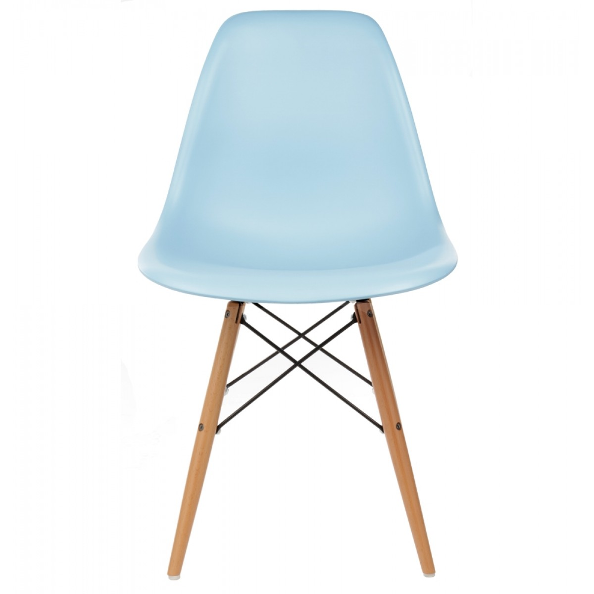 Set Of 2 Eames Style DSW Molded Light Blue Plastic Dining Shell Chair With Wo