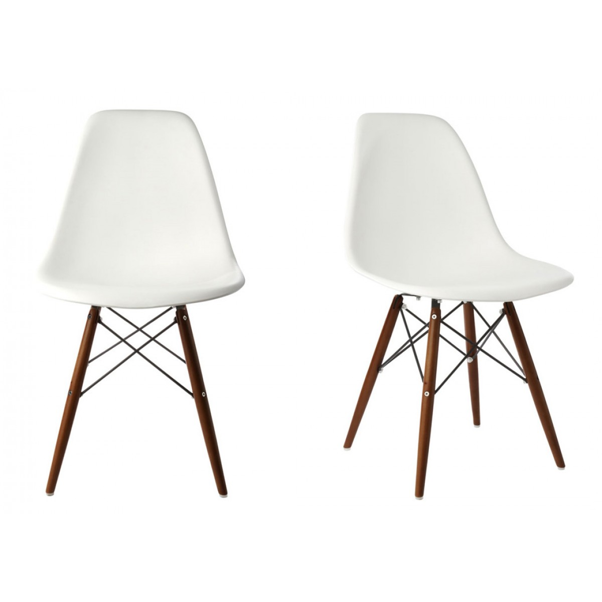 Set Of 2 DSW Molded White Plastic Dining Shell Chair With Dark Walnut Wood  Eiffel Legs
