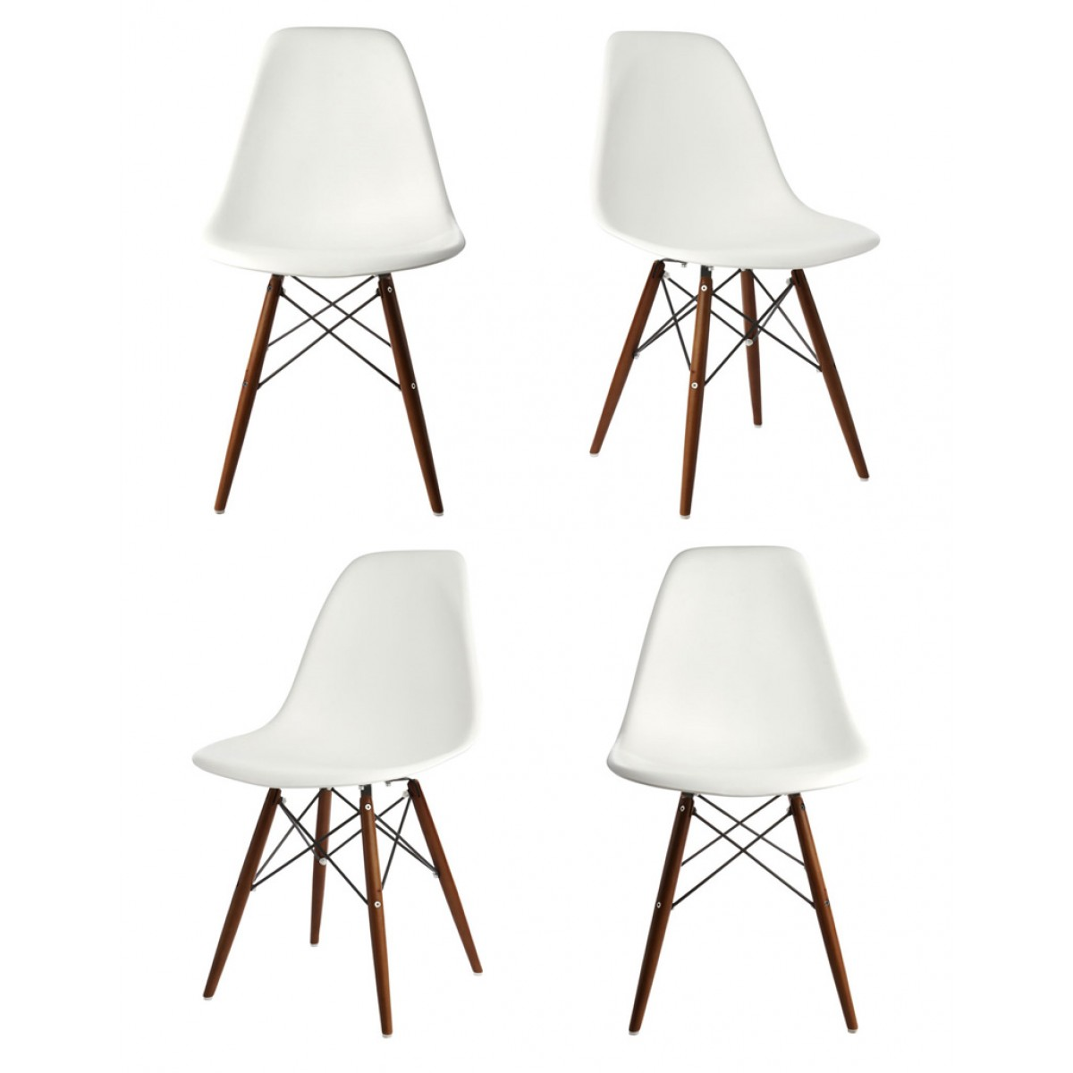 Elegant Set Of 4 DSW Molded White Plastic Dining Shell Chair With Dark Walnut Wood  Eiffel Legs