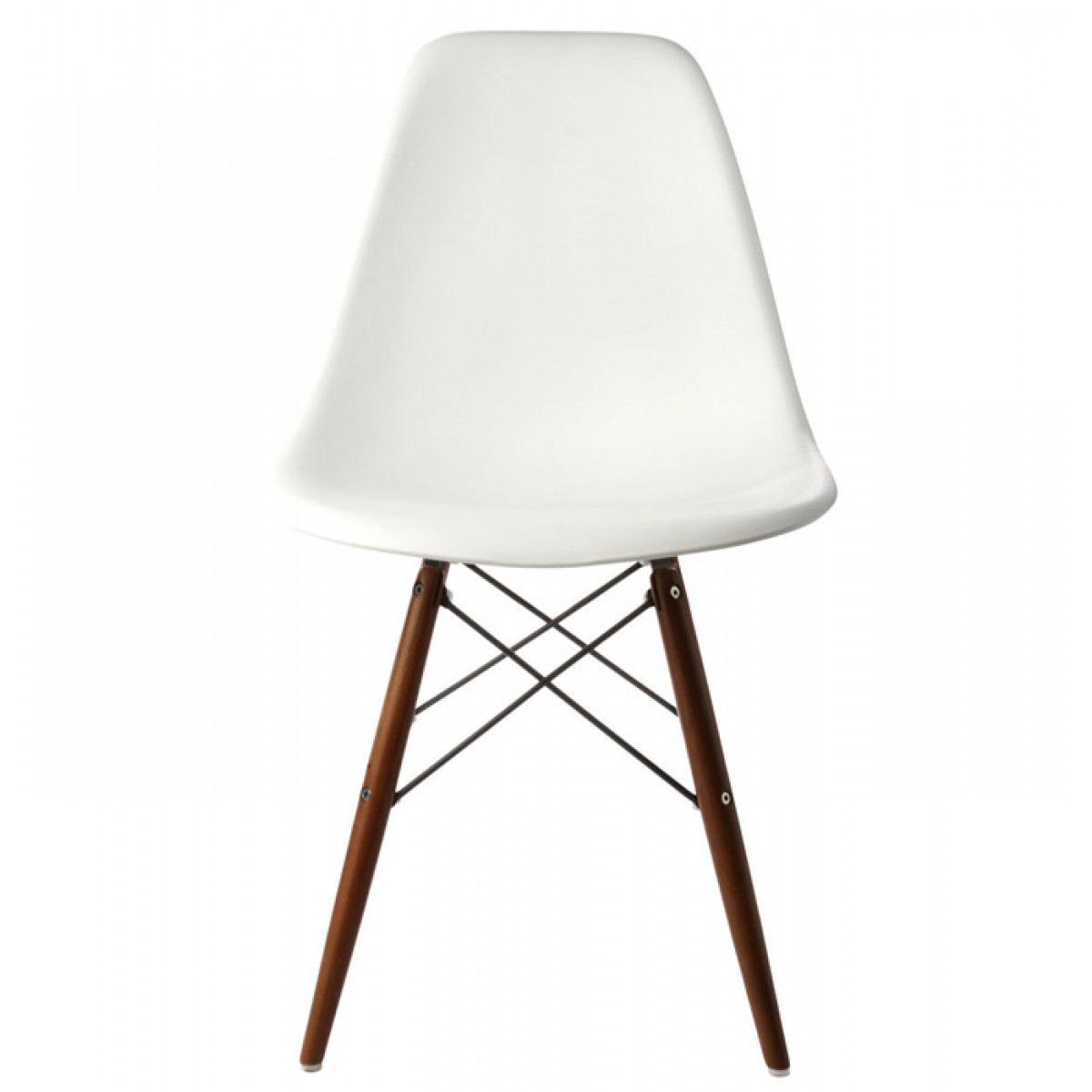 Set of 4 eames style dsw molded white plastic dining shell for Eames plastic side chair dsw replica