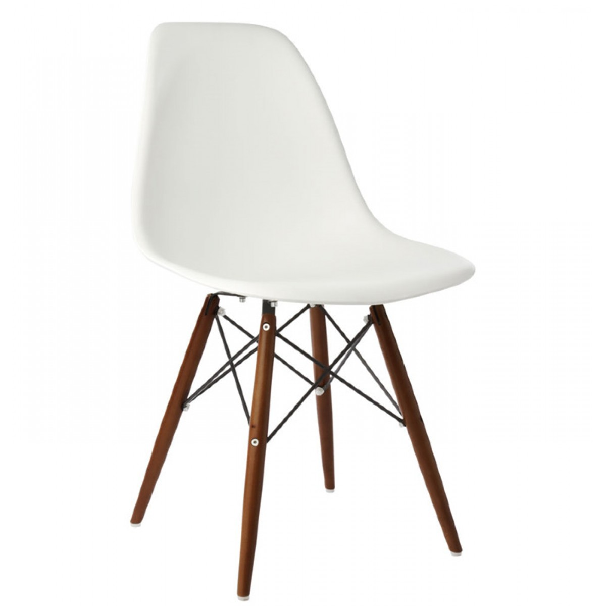 Set Of 4 Eames Style DSW Molded White Plastic Dining Shell Chair With Dark Wa