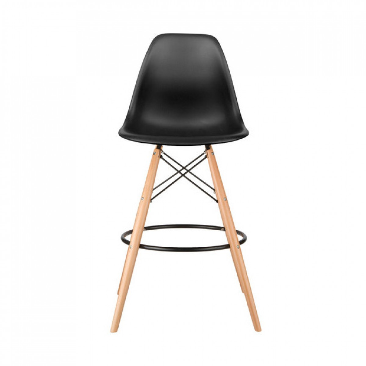 Super Set of 2 Eames Style DSW Black Plastic 26 Inch Counter Stool with  BN35