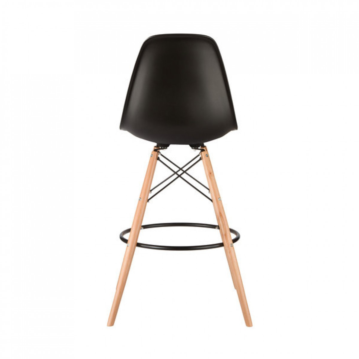 set of 2 eames style dsw black plastic 26 inch counter stool with wood eiffel legs. Black Bedroom Furniture Sets. Home Design Ideas