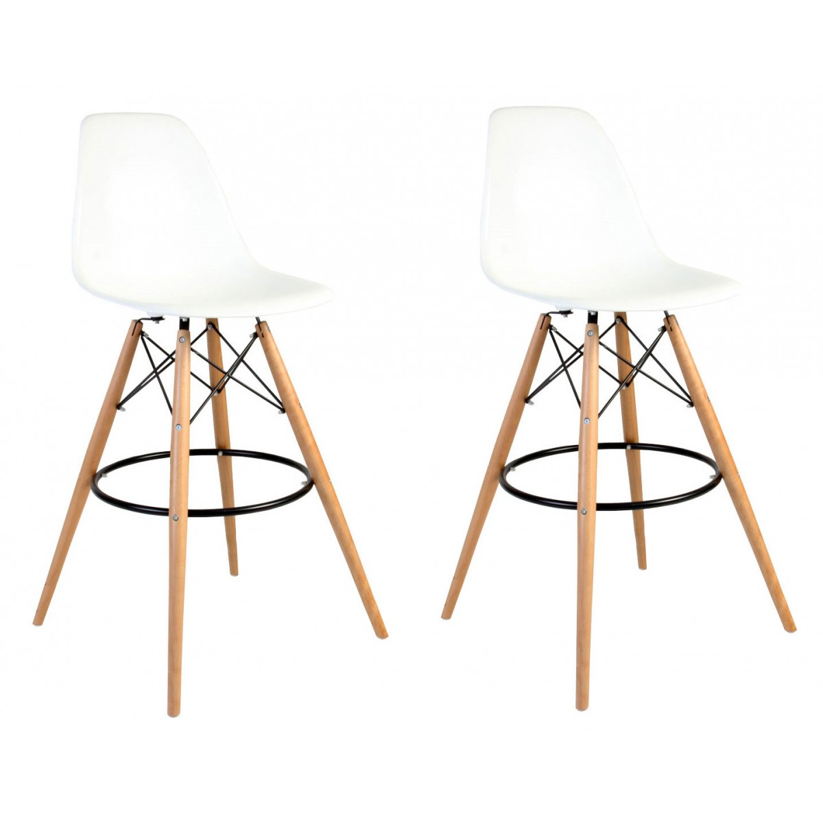 Set of 2 Eames Style DSW White Plastic 30 Inch Bar Stool  : eames stools white beech leg 752p1 from www.emoderndecor.com size 1200 x 1200 jpeg 92kB