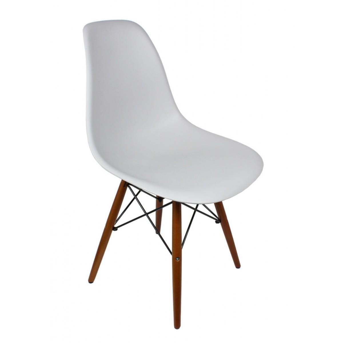 Set Of 4 DSW Light Gray Plastic Dining Shell Chair With Dark Walnut Wood  Eiffel Legs