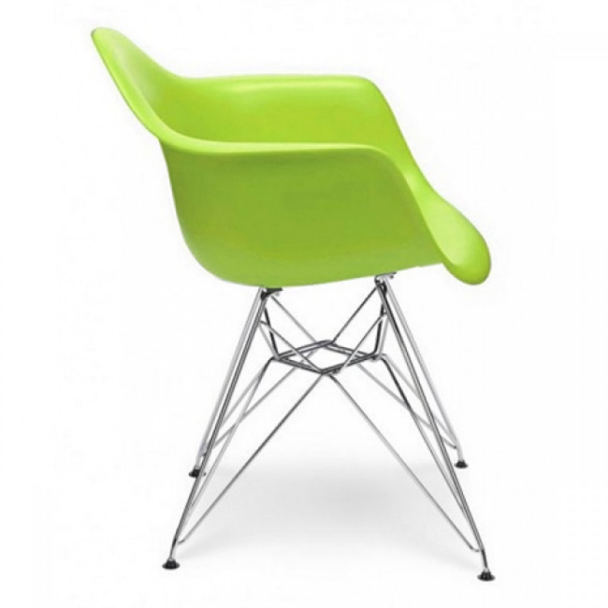 Eames style dar molded lime green plastic dining armchair for Chaise eiffel charles eames