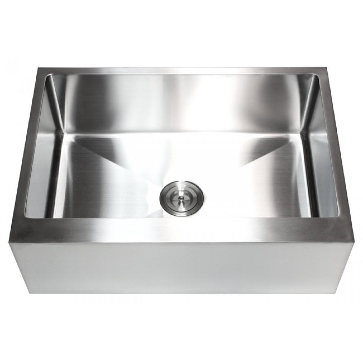 30 Inch Stainless Steel Flat Front Farm Apron Single Bowl Kitchen Sink 15mm Radius Design 16 Gauge