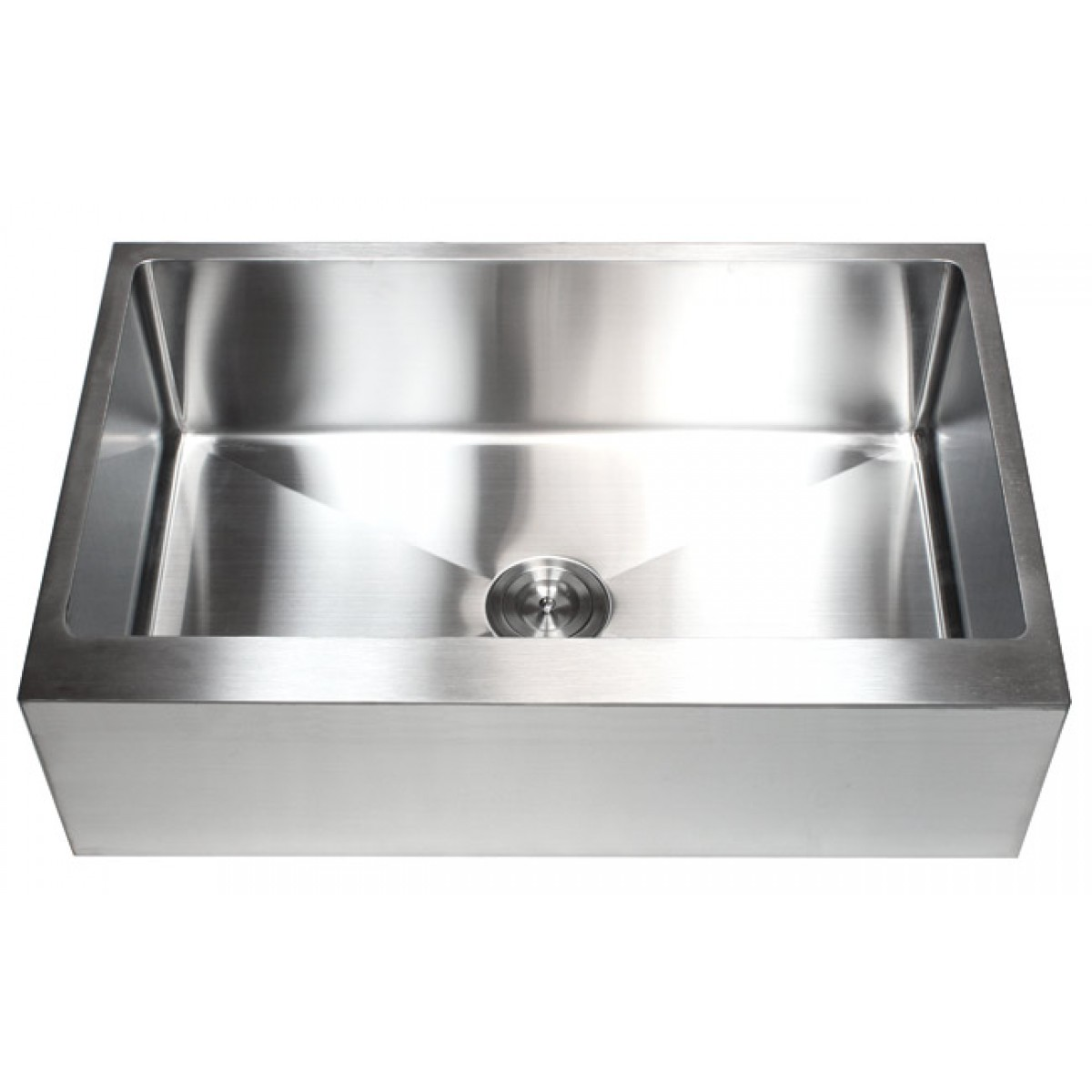 33 inch stainless steel flat front farm apron single bowl for Designer kitchen sinks stainless steel