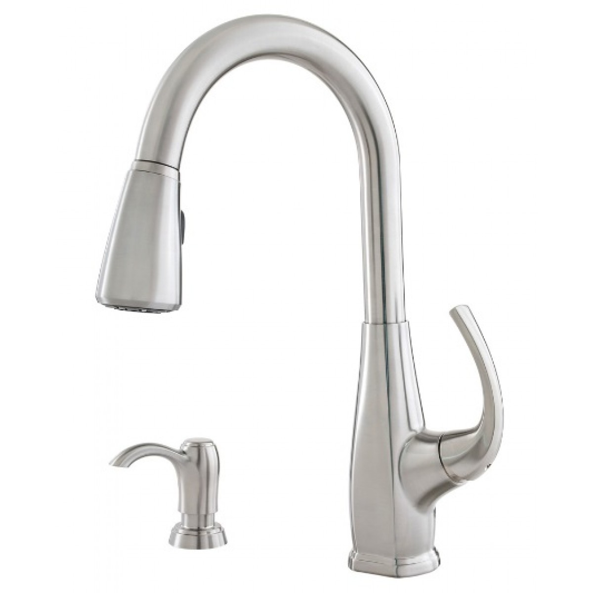 Pfister selia lead free single handle pull out kitchen for Faucet soap dispenser placement
