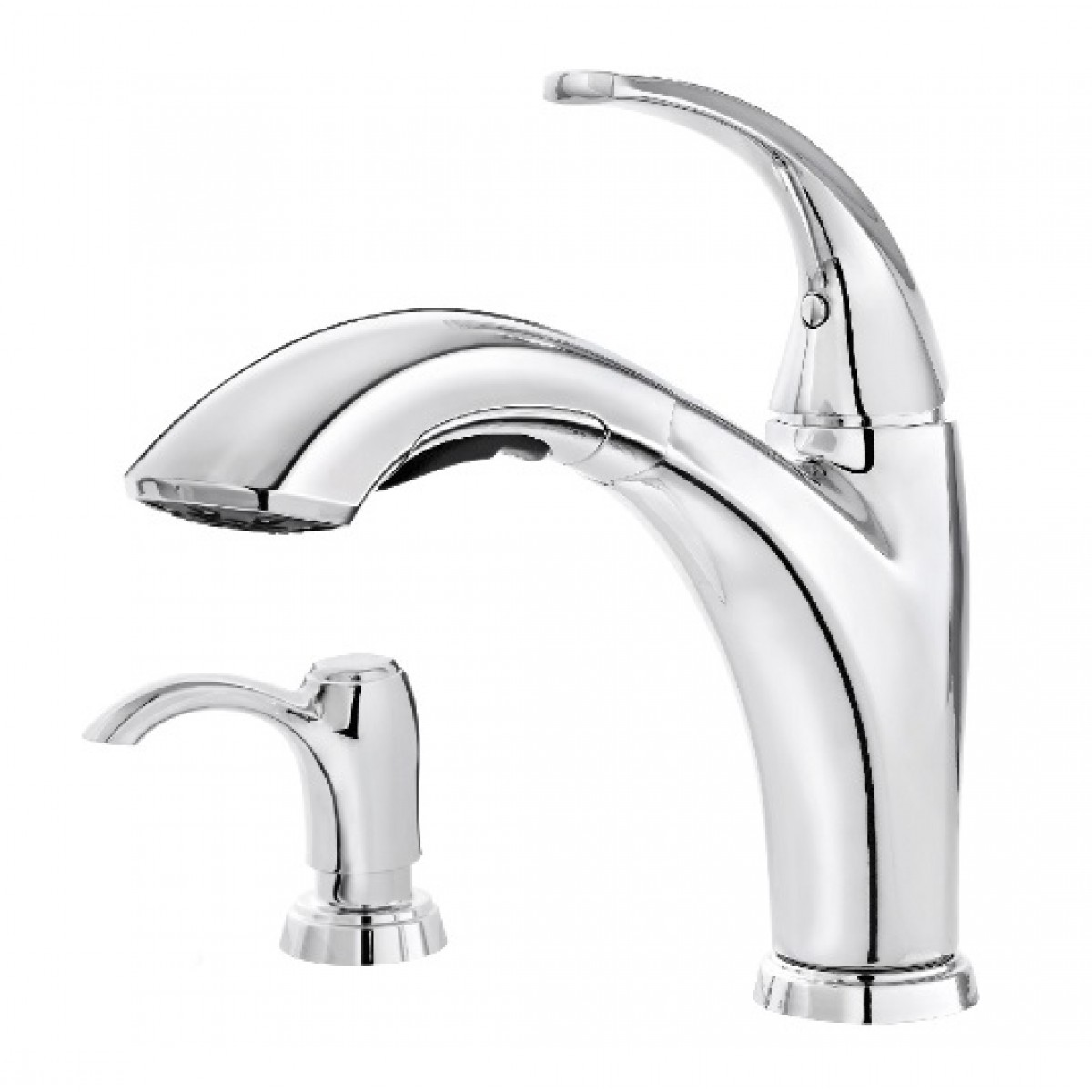 Pfister Selia Lead Free Single Handle Pull Out Chrome Kitchen Faucet With  Soap Dispenser. Pfister Selia Lead Free Single Handle Pull Out Chrome Kitchen