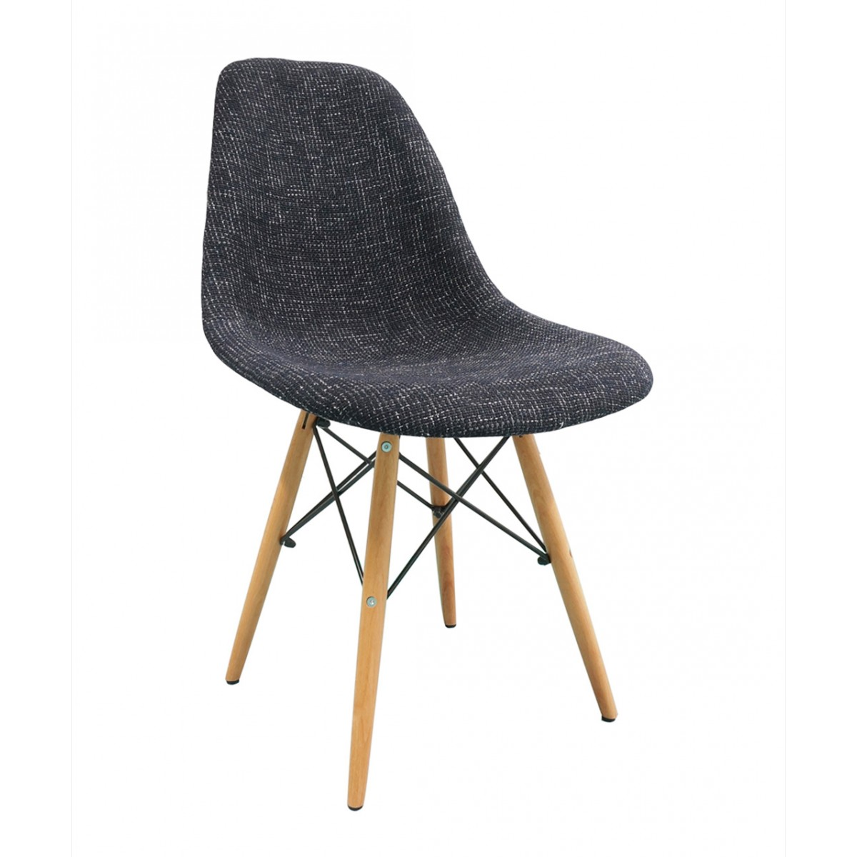 Black fabric upholstered eames style dsw shell chair with for Upholstered dining chairs with black legs