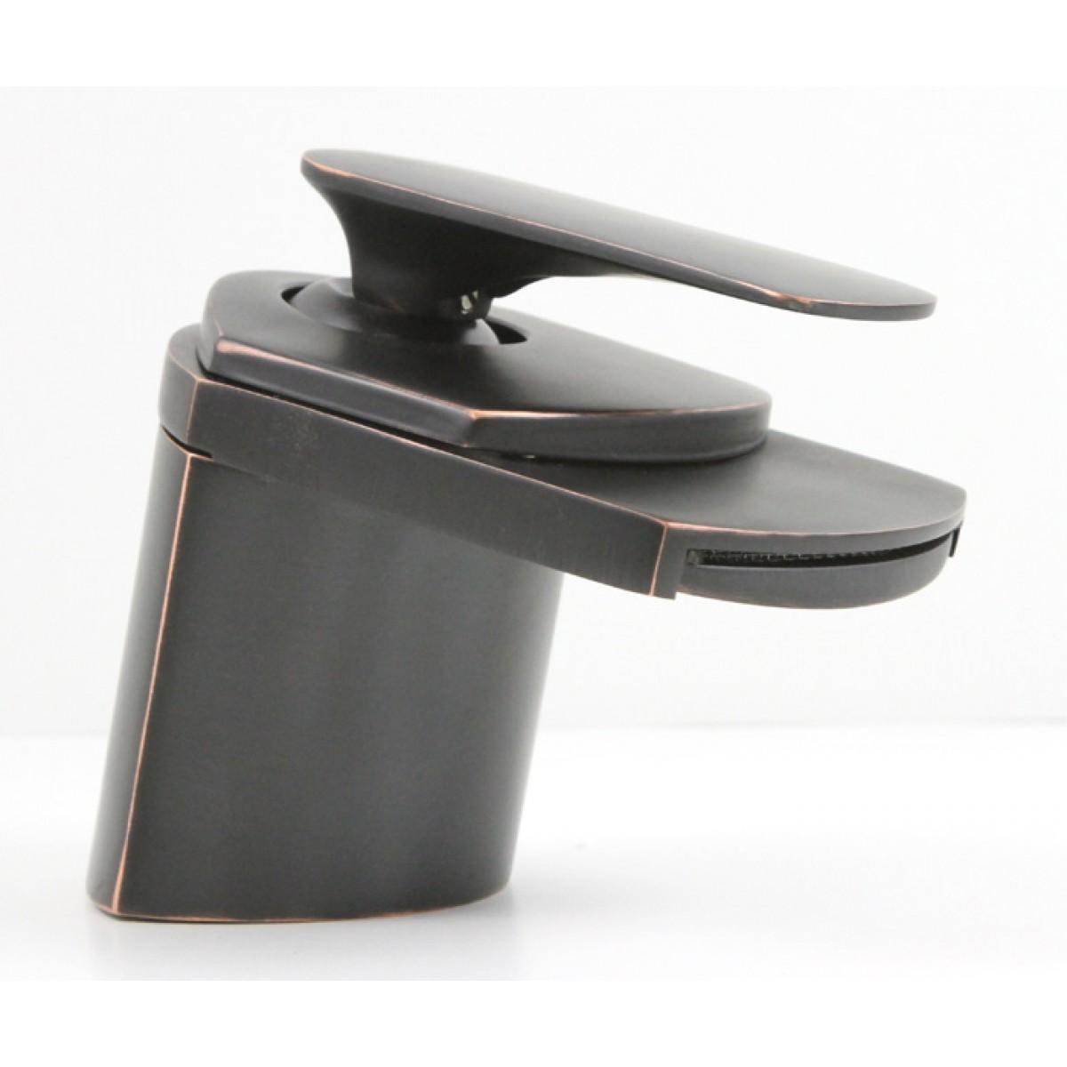 Venetian Bronze Waterfall Flat Spout Single Hole Bathroom Faucet 5 X 2 1 2 Inch