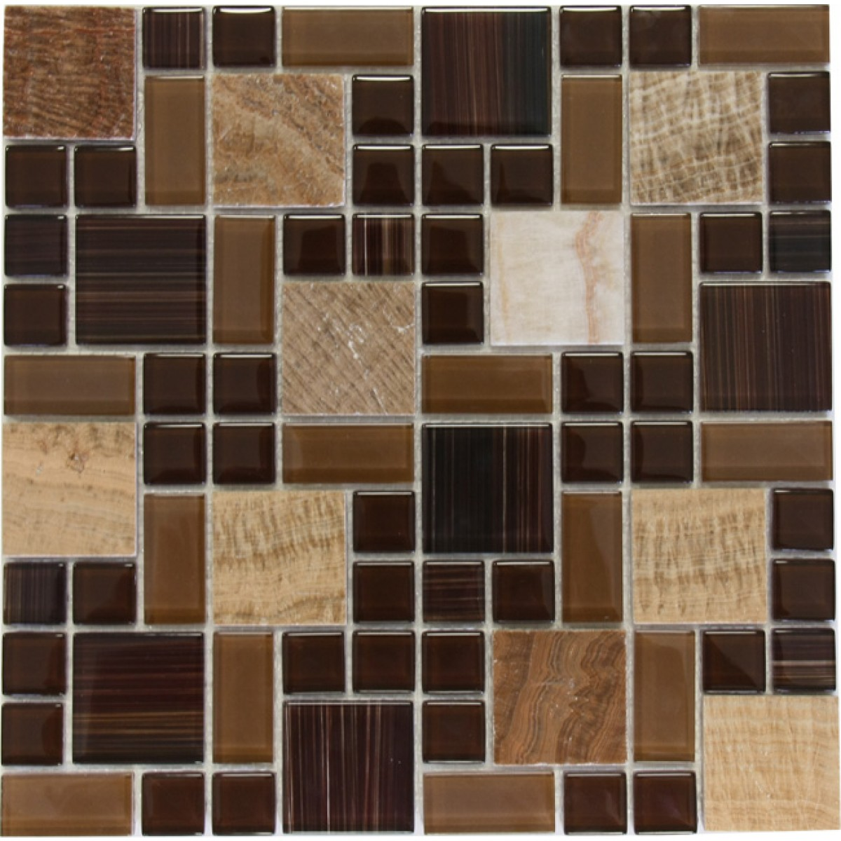 Brown marble mixed with glossy chocolate glass mosaic tile for Installing glass tile with mesh back