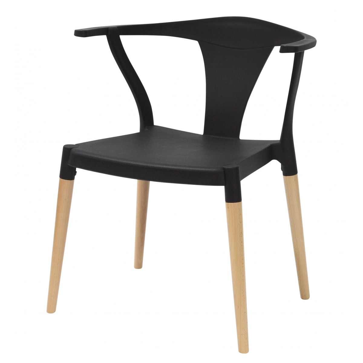 Icon series black modern accent dining arm chair beech for Black dining chairs with arms