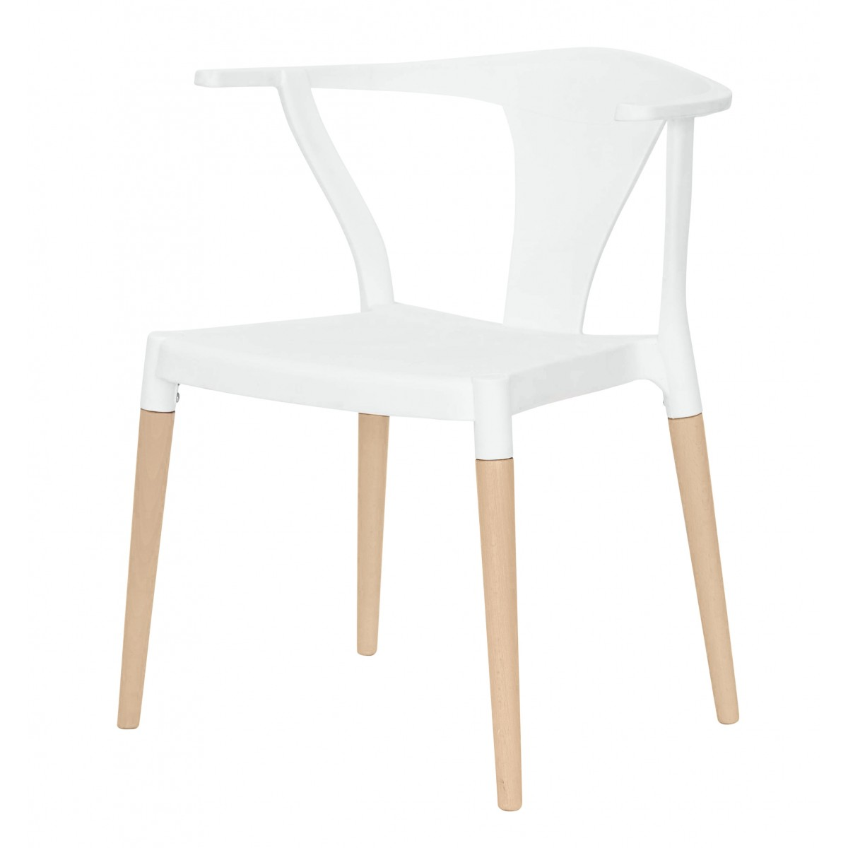 Icon series white modern accent dining arm chair beech for White dining chairs with arms