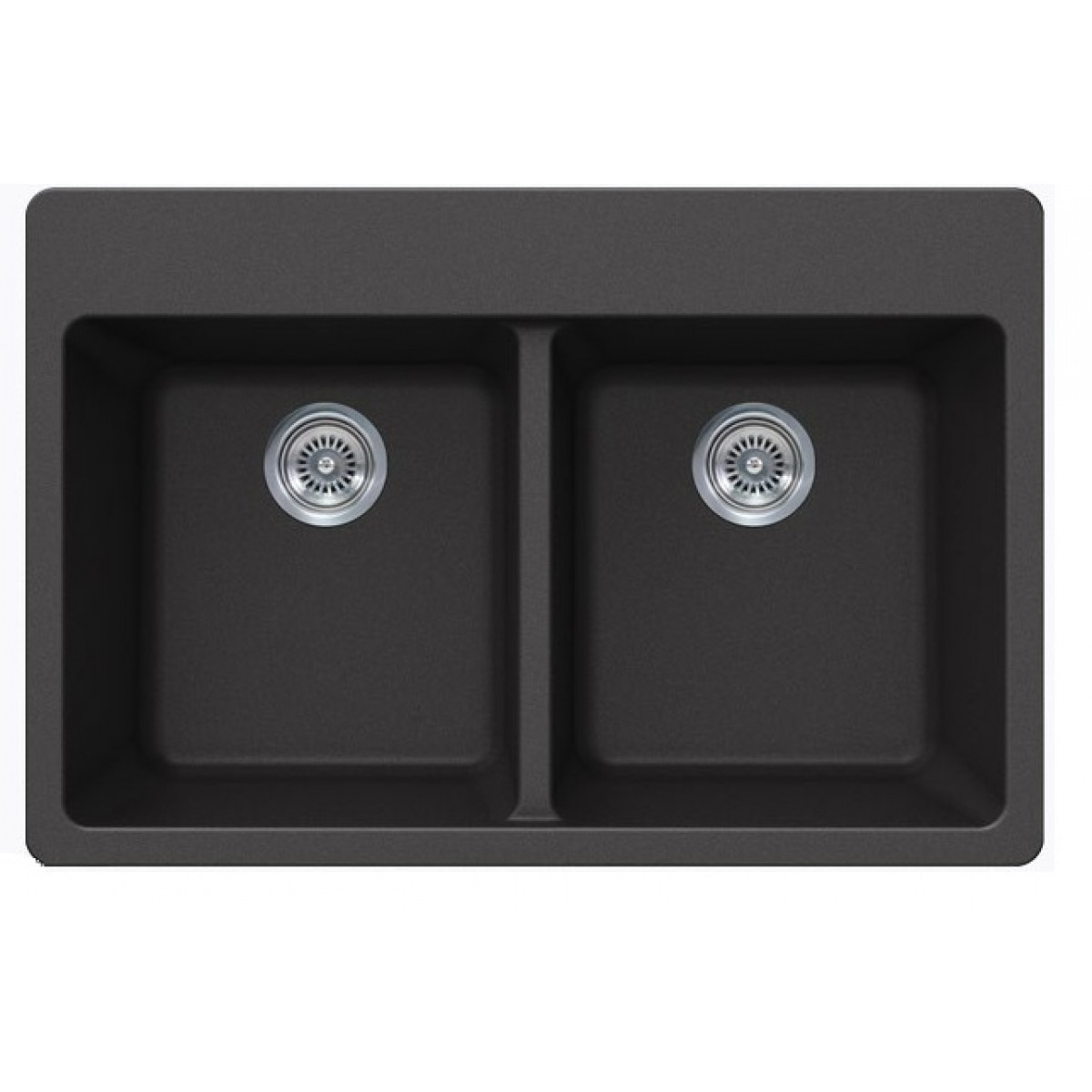 Black Quartz Composite Double Bowl Undermount / Drop In Kitchen Sink   33 X  22 X 9 Inch