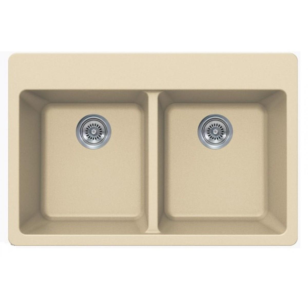 Beige Quartz Composite Double Bowl Undermount Drop In Kitchen Sink 33 X 22 X 9 Inch