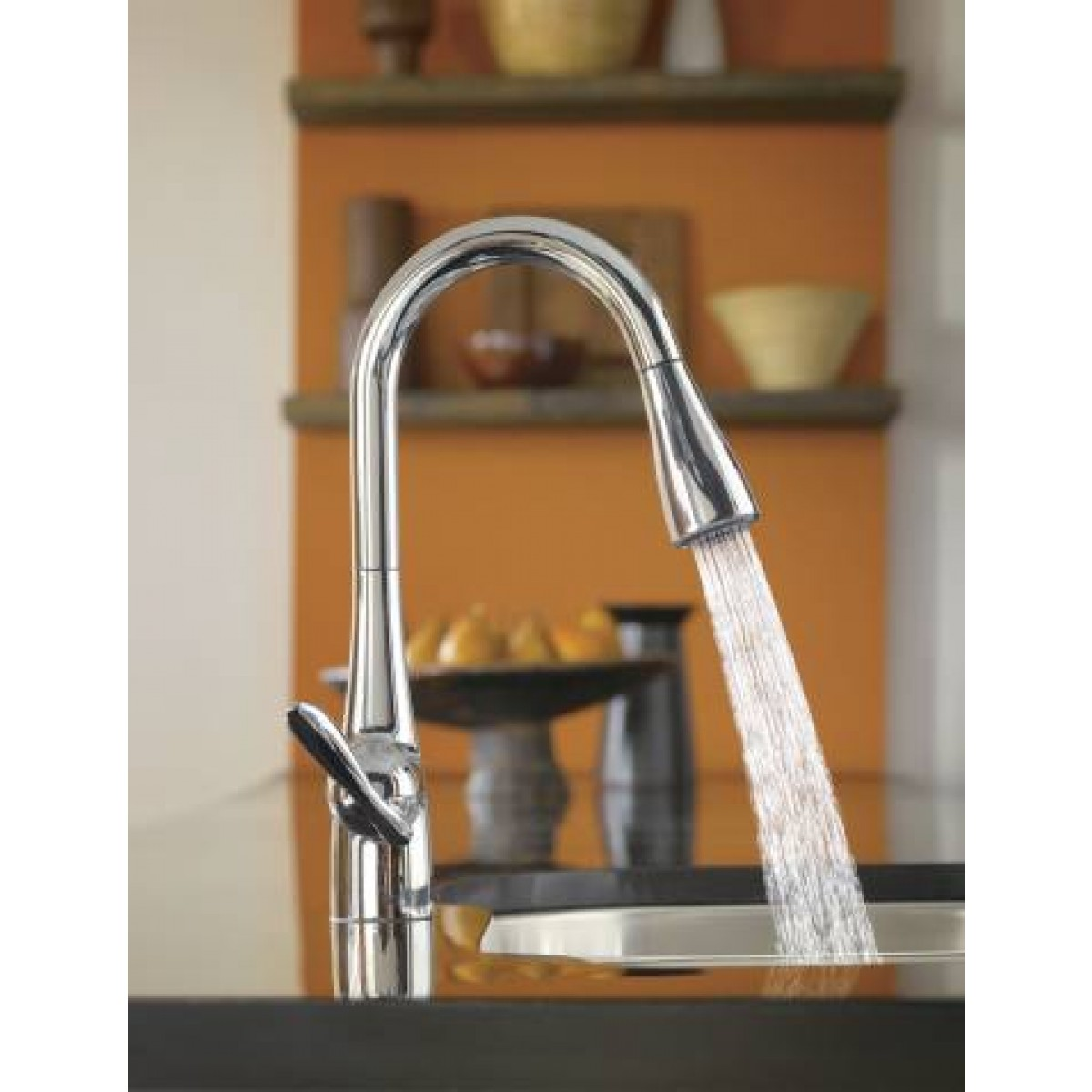 moen arbor lead free single handle pull out kitchen faucet