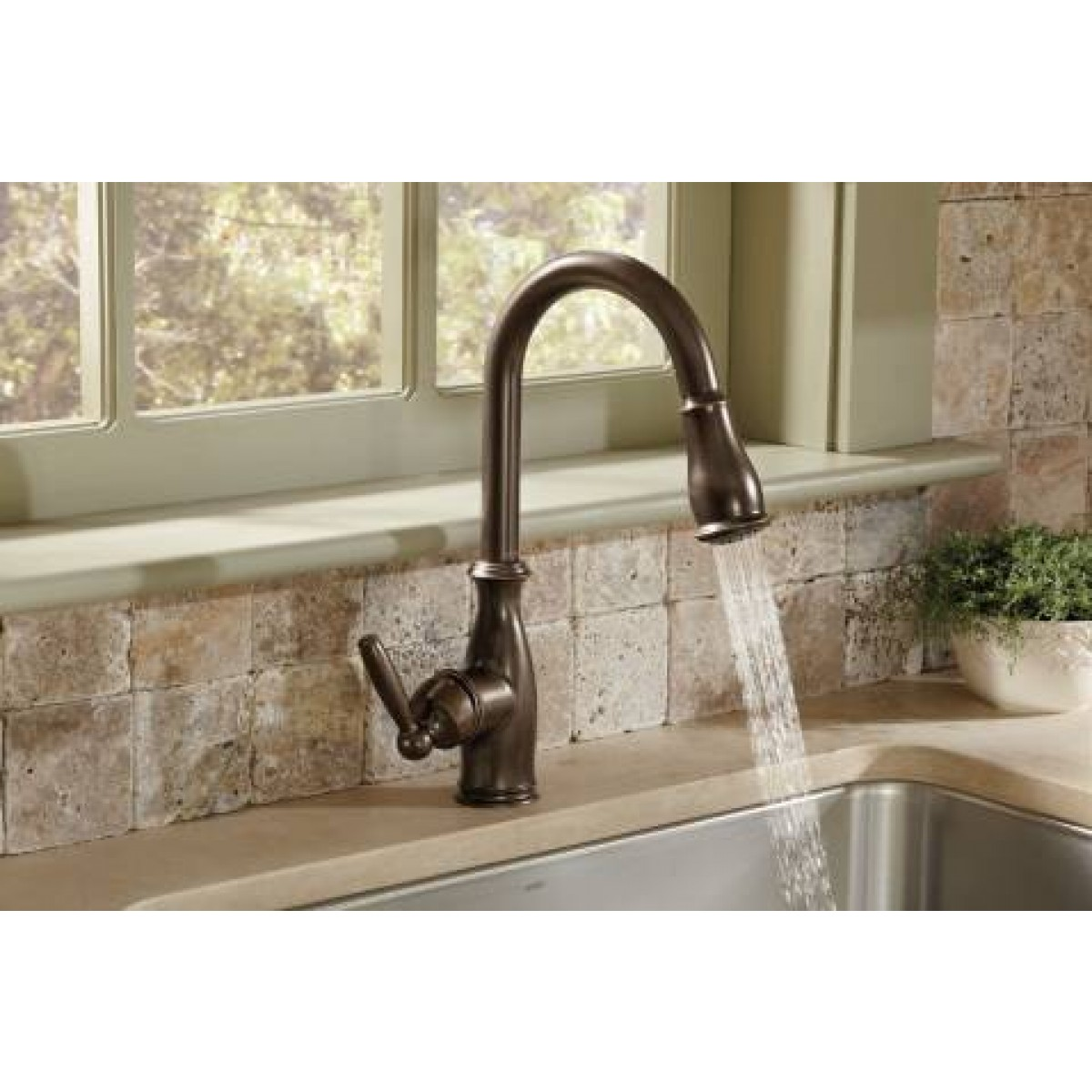 moen brantford lead free single handle pull out kitchen faucet moen brantford chrome one handle high arc pullout kitchen