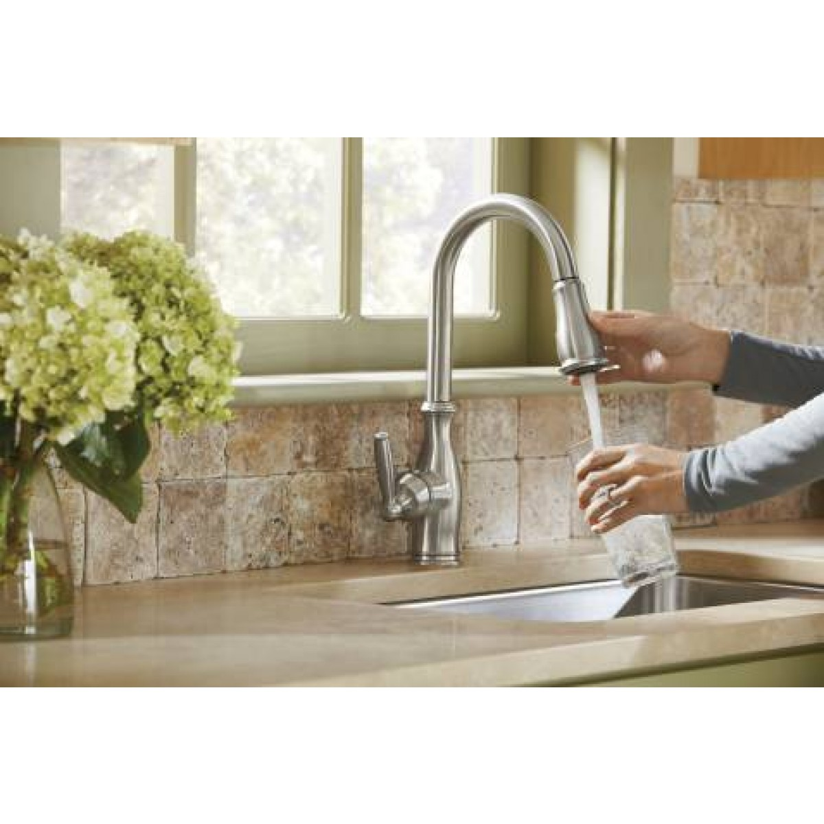 moen brantford lead free single handle pull out kitchen faucet moen brantford single handle pull out kitchen faucet wayfair