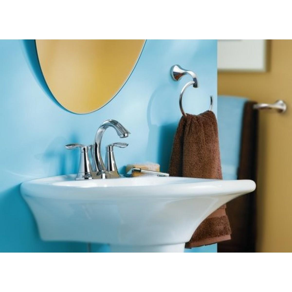 Moen Eva Centerset Lead Free 3 Hole High Arc Bathroom Faucet ...