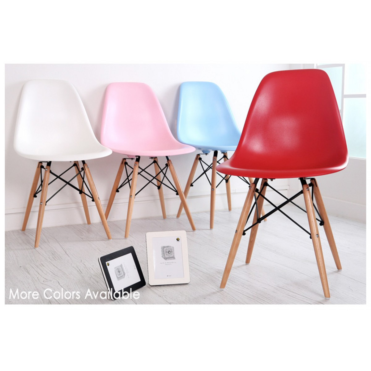 Set Of 4 Eames Style DSW Molded Light Blue Plastic Dining Shell Chair With Wo
