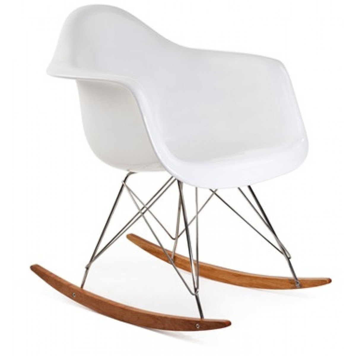 Eames Style RAR Molded White Plastic Rocking Chair With Steel Eiffel Legs