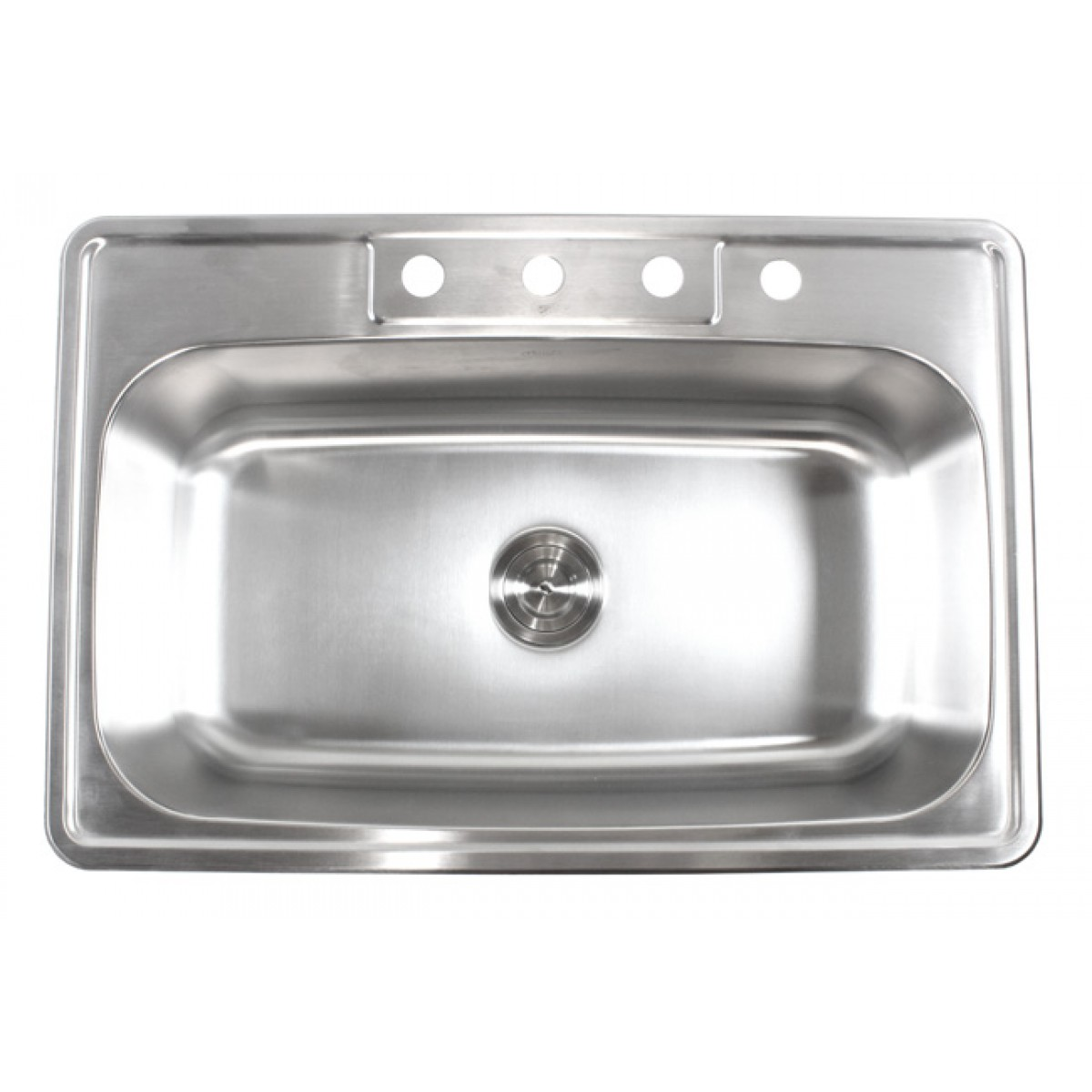 33 inch stainless steel top mount drop in single bowl - 18 inch kitchen sink ...