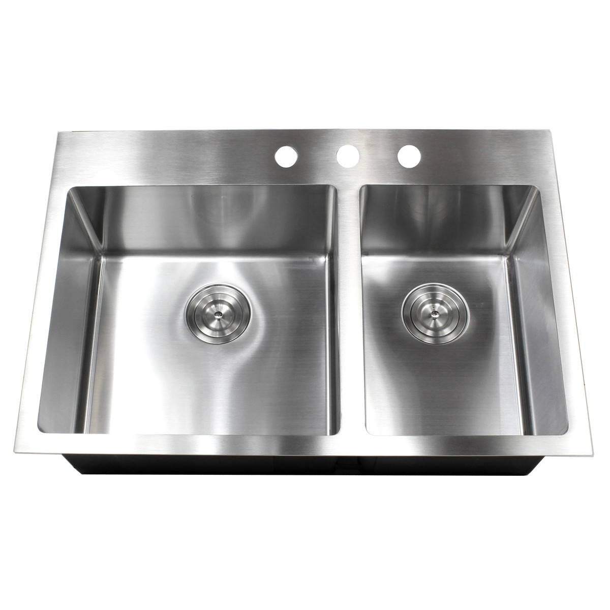 33 Inch Top Mount / Drop In Stainless Steel Double Bowl Kitchen Sink 15mm  Radius Design
