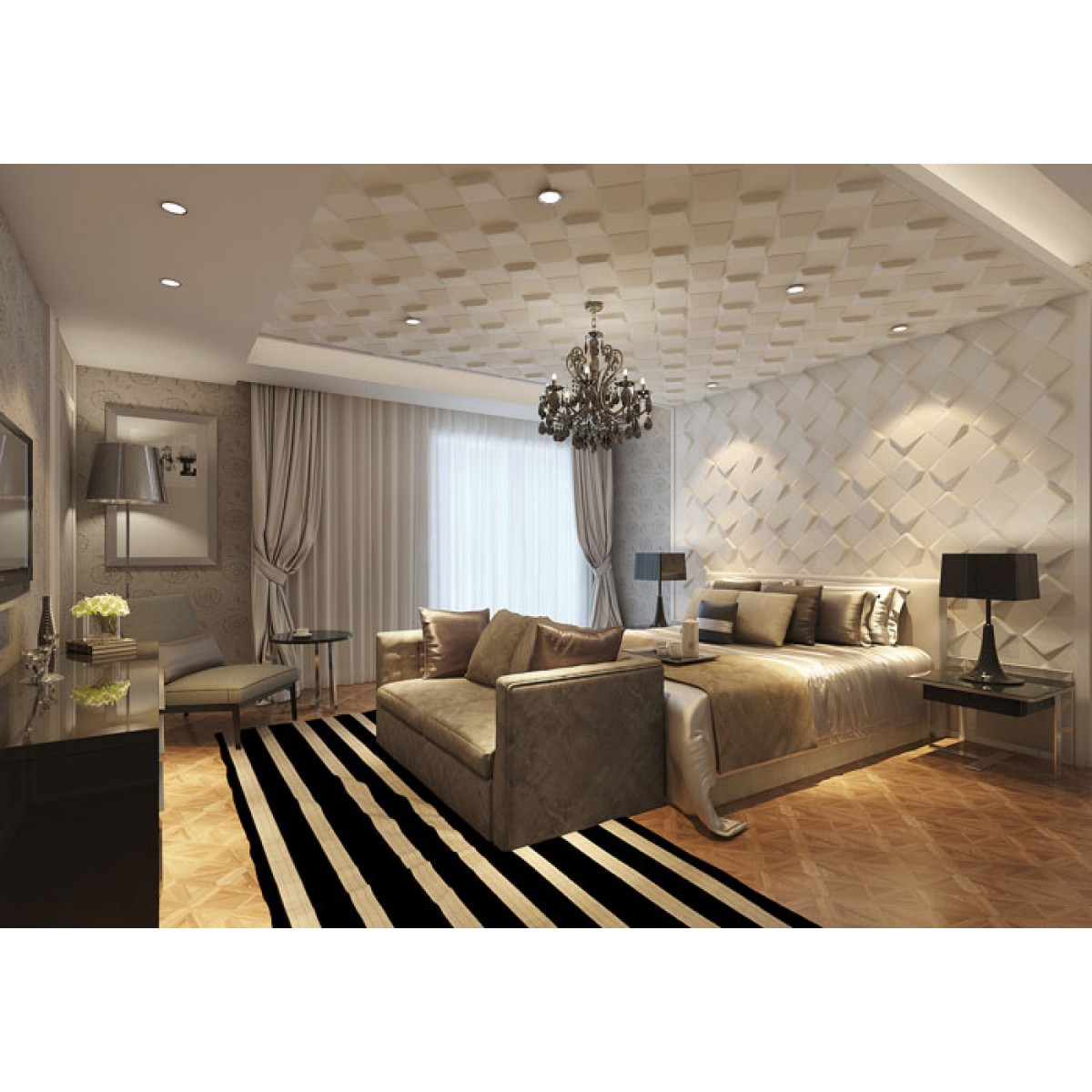 Space design 3d glue on wall panel for Emodern decor