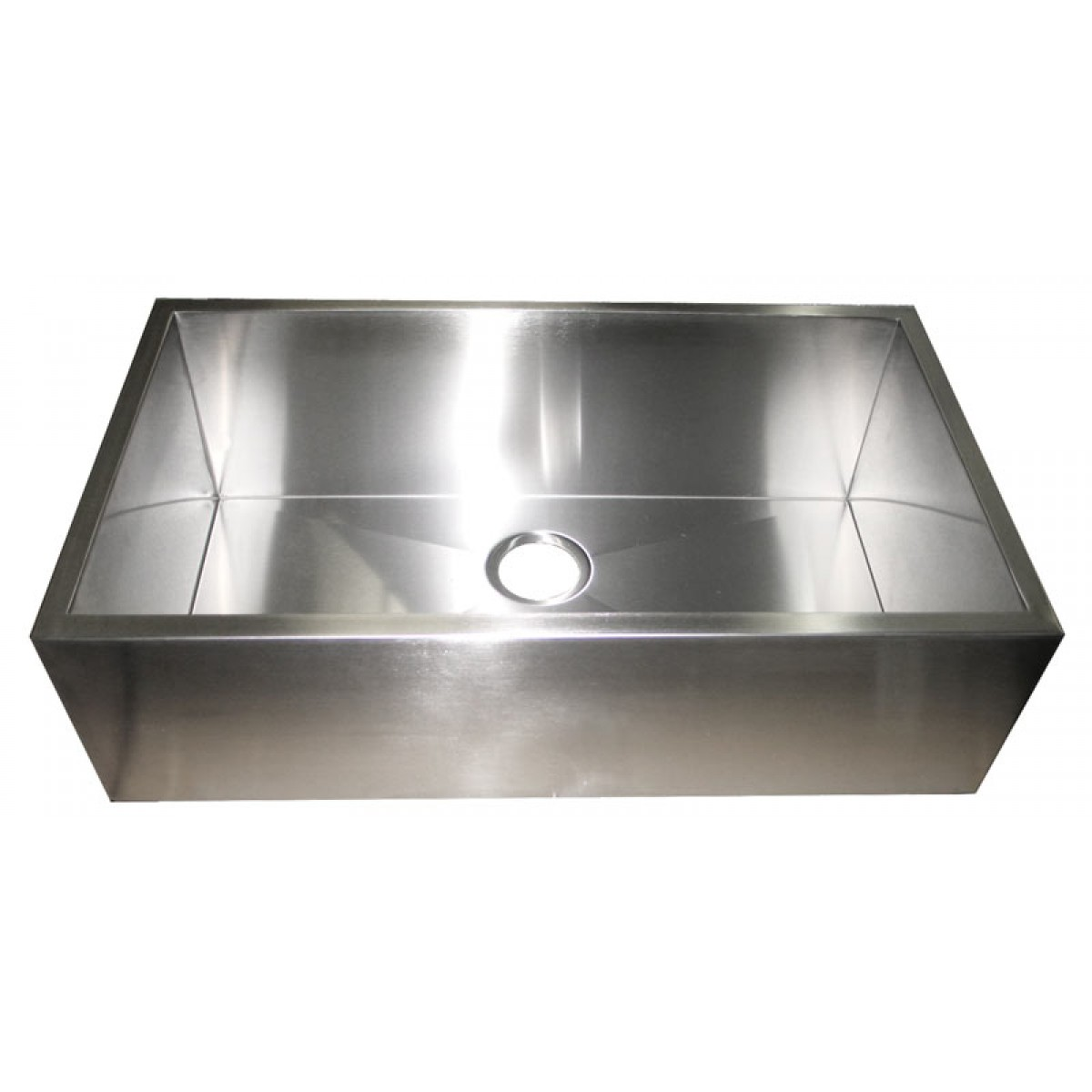 32 inch stainless steel flat front farm apron single bowl for Designer kitchen sinks stainless steel