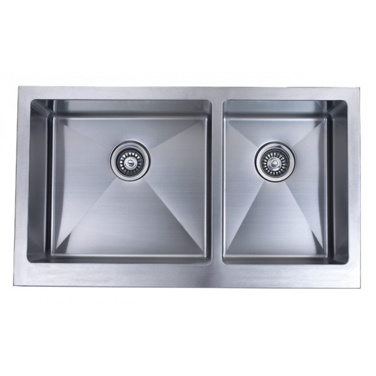 36 inch stainless steel flat front farm apron 60 40 double for Designer kitchen sinks stainless steel