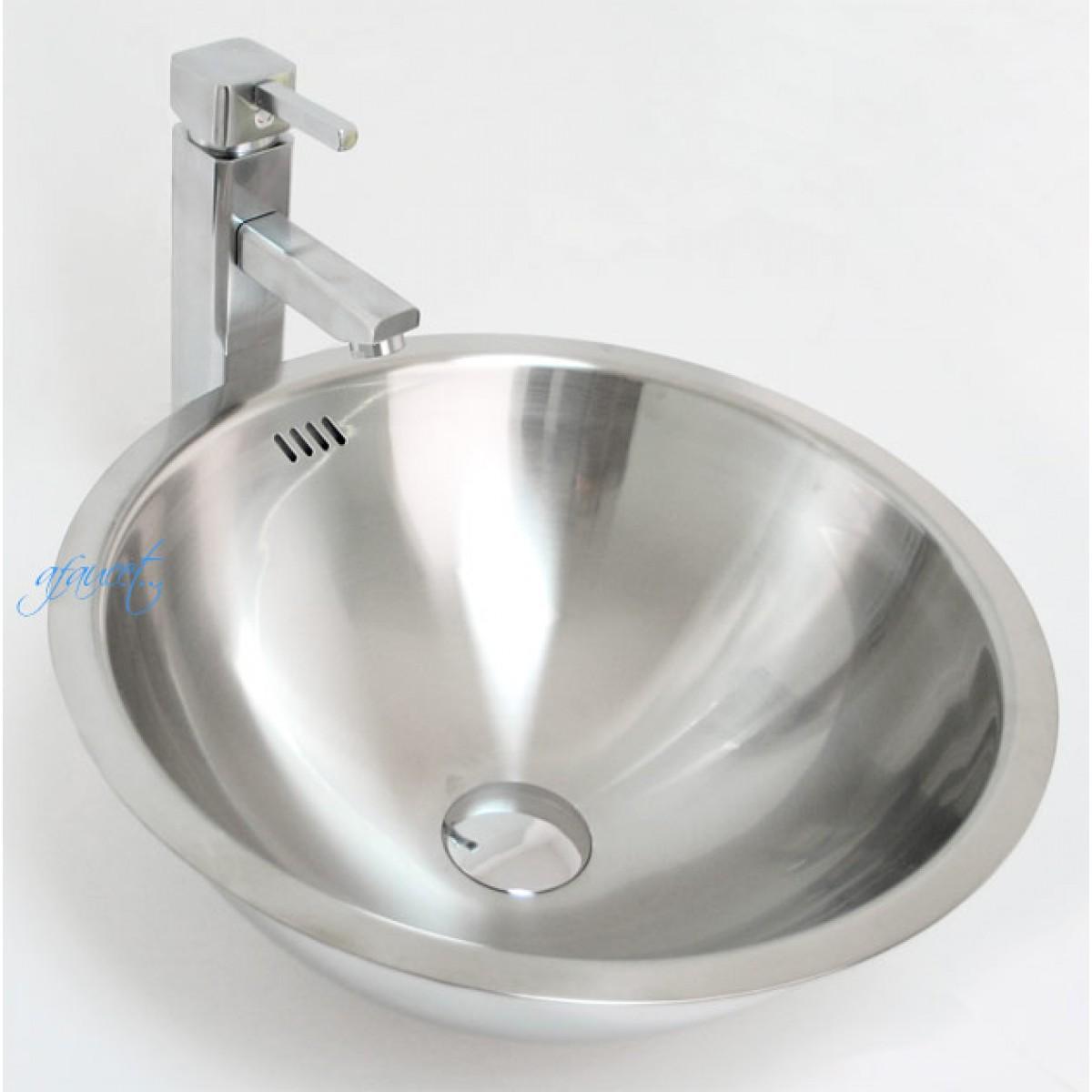 Round 18 gauge stainless steel drop in undermount countertop bathroom vessel sink 16 1 4 x Stainless steel bathroom vanities