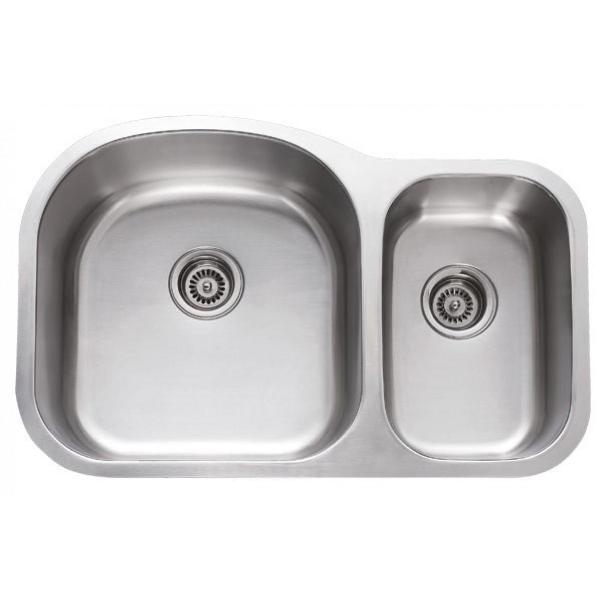 31 Inch Stainless Steel Undermount 70 30 Double Bowl Kitchen Sink 18 Gauge