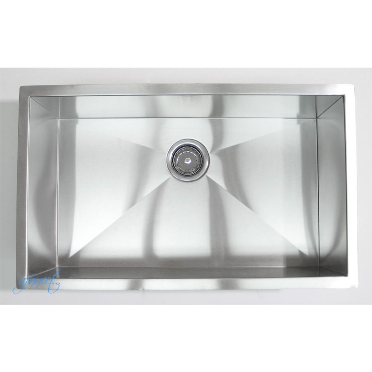 Inch Zero Radius Stainless Steel Undermount Single Bowl Kitchen Sink ...