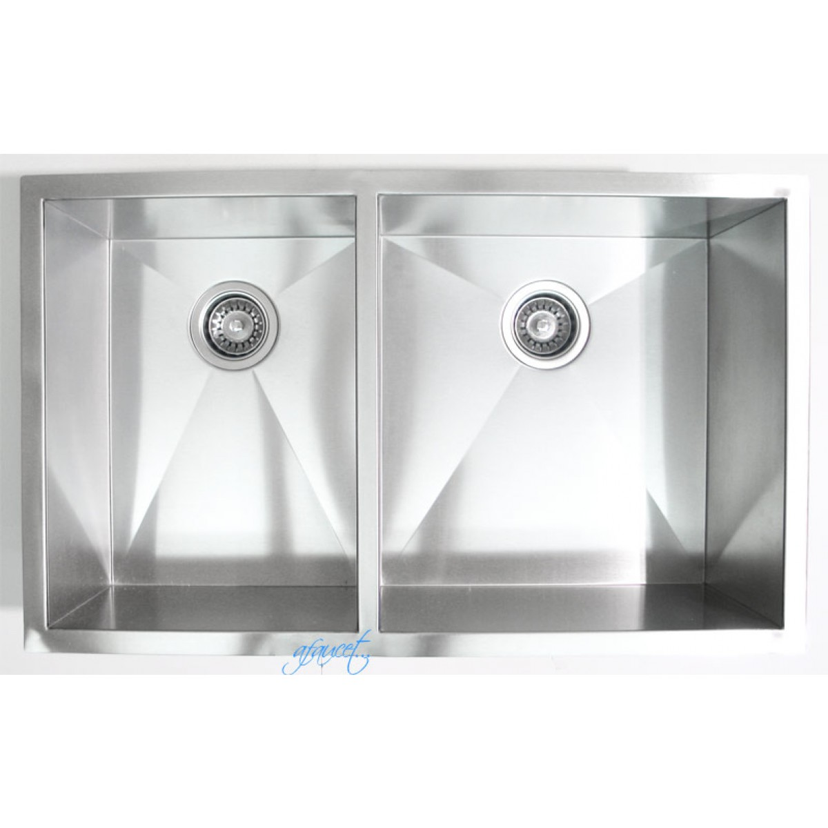 32 inch stainless steel undermount 40 60 double bowl for Designer stainless steel sinks