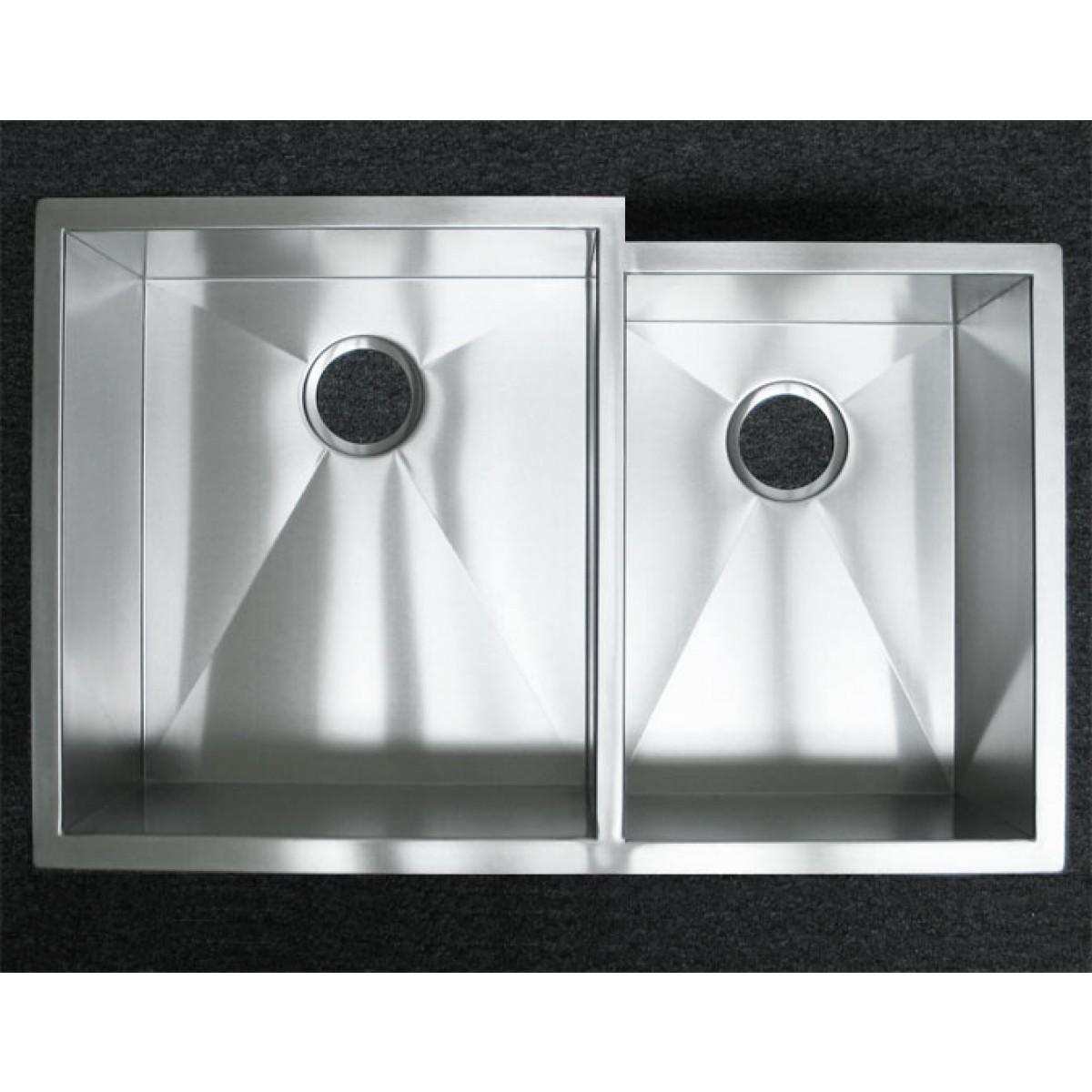 33 Inch Stainless Steel Undermount 60/40 Offset Double Bowl Kitchen Sink  Zero Radius Design