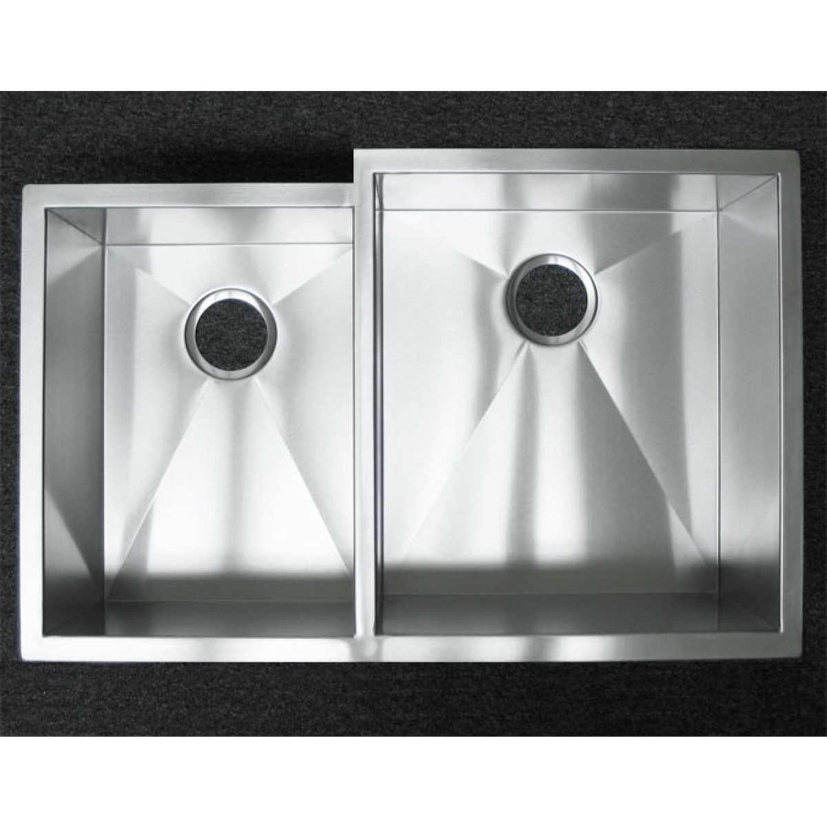 33 inch stainless steel undermount 4060 offset double bowl kitchen sink zero radius design. beautiful ideas. Home Design Ideas