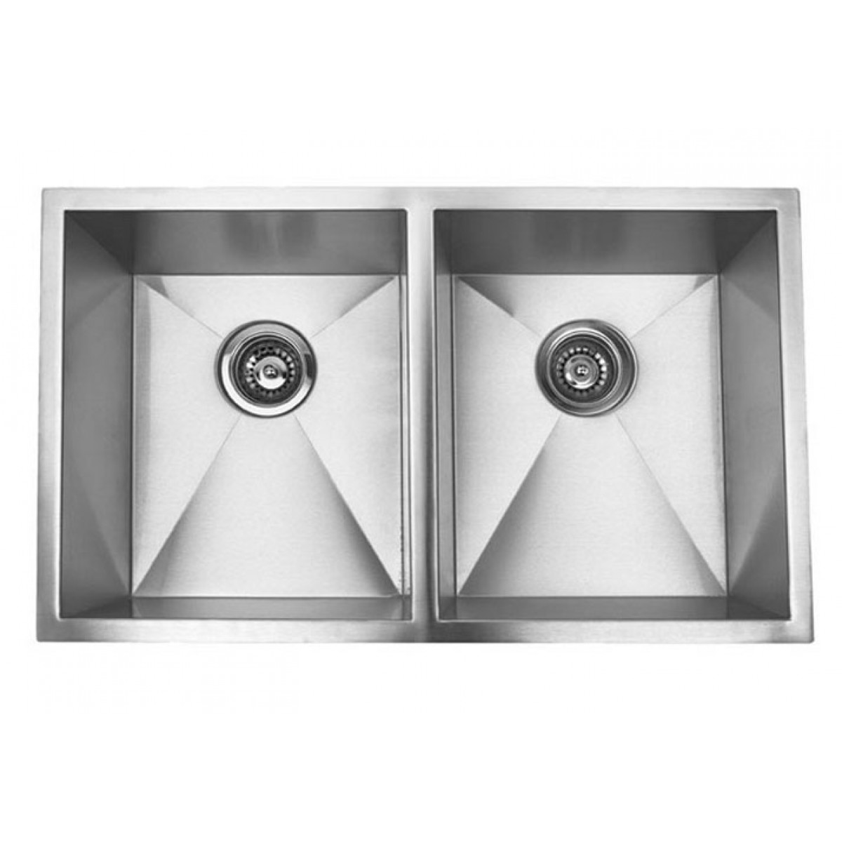 37 inch stainless steel undermount 50 50 double bowl for Designer kitchen sinks stainless steel