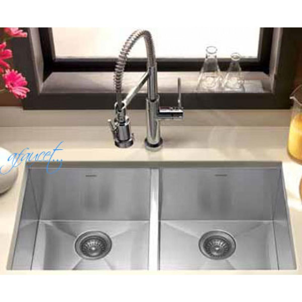 Undermount Kitchen Sinks Stainless Steel 37 inch stainless steel undermount 50/50 double bowl kitchen sink