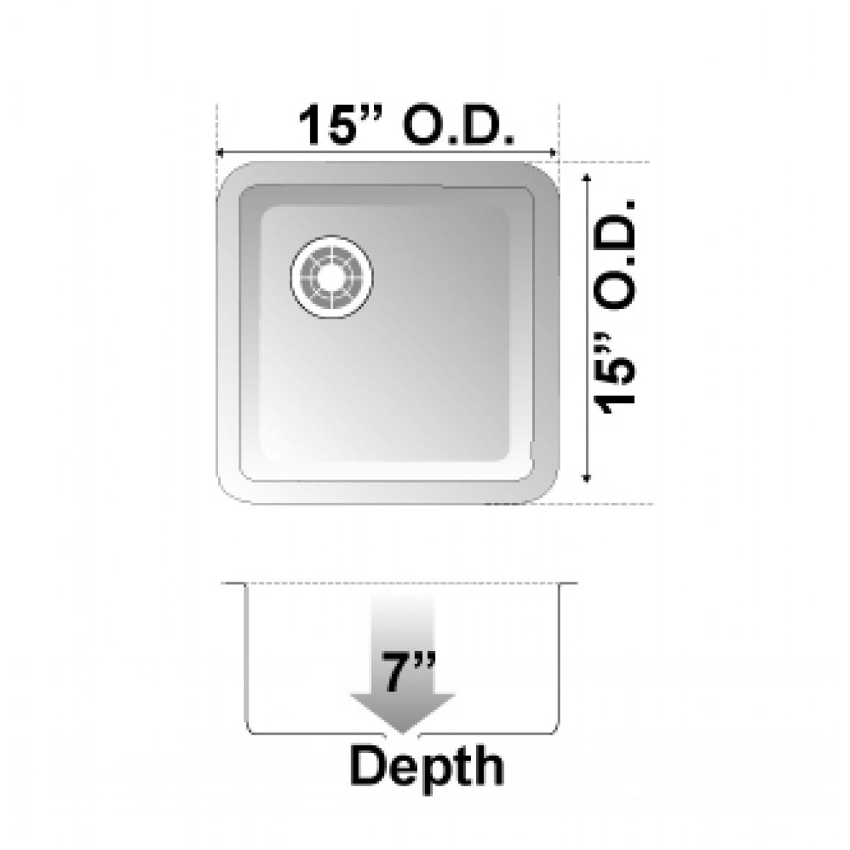 Beige Quartz Composite Undermount Kitchen Sink - 14-7/8 x 14-7/8 x ...