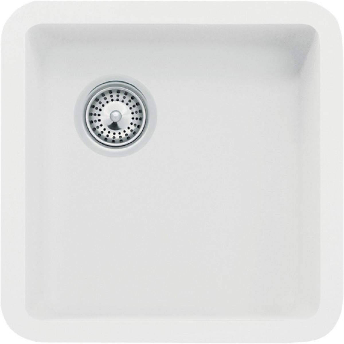 White Quartz Composite Undermount / Drop In Kitchen Sink - 14-7/8 ...