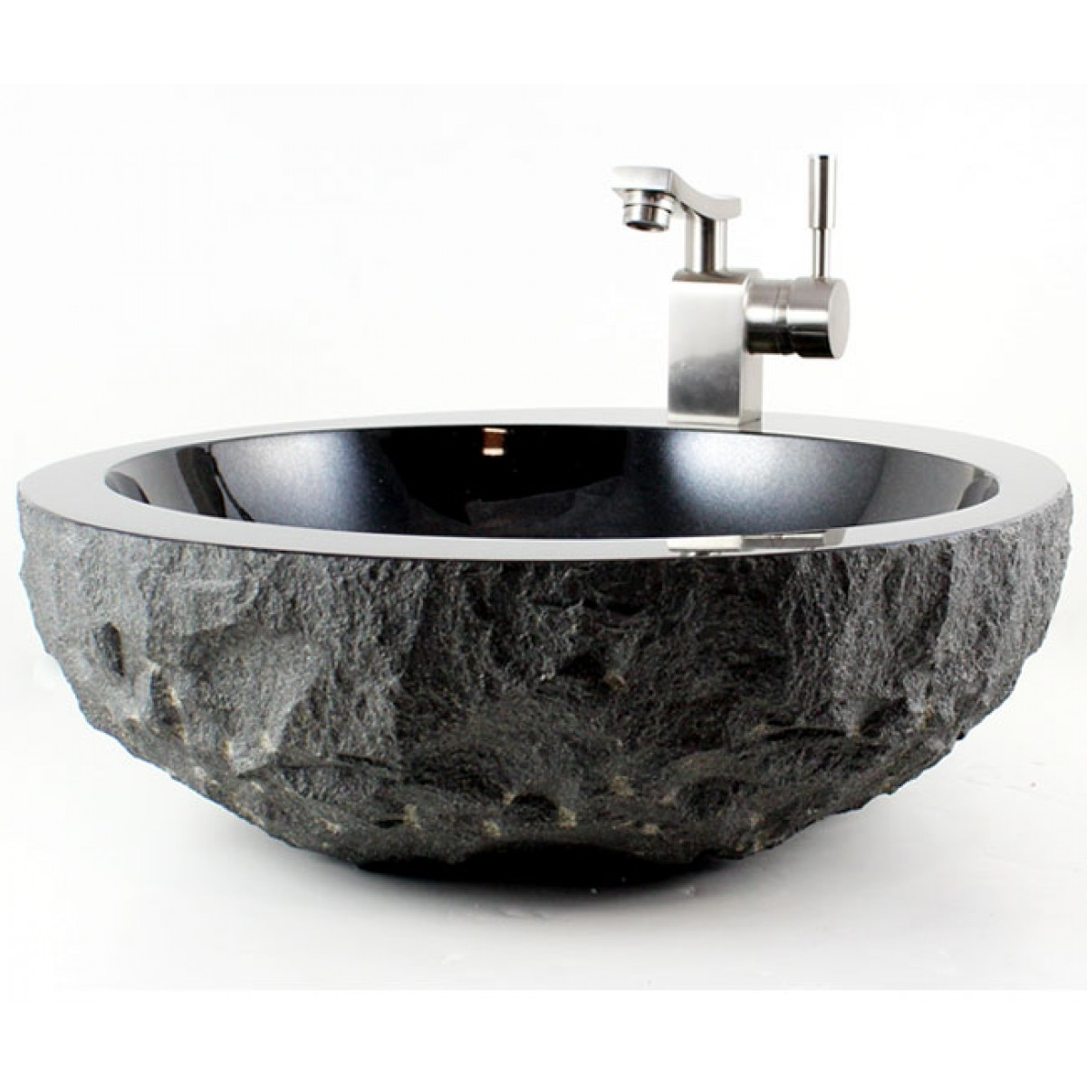 Black Bathroom Sink : Stone Absolute Black Granite Finish Bathroom Lavatory Vessel Sink ...