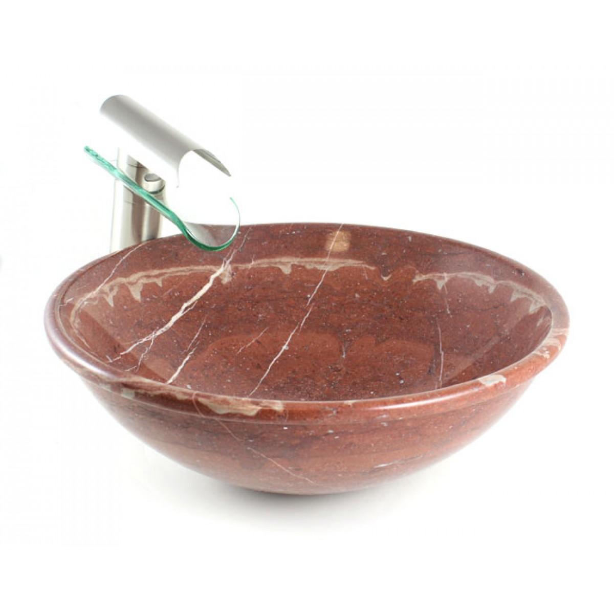 Red Rock Marble Stone Undermount Drop In Countertop Bathroom Lavatory Vessel Sink 16 1 2 X 5 Inch
