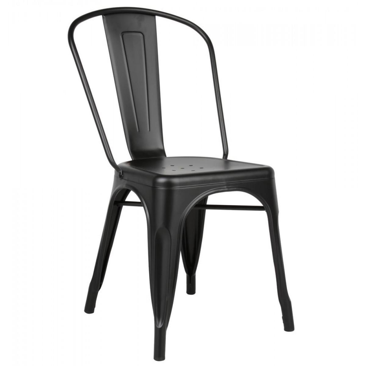 tolix style matte black metal industrial loft designer cafe chair. Black Bedroom Furniture Sets. Home Design Ideas