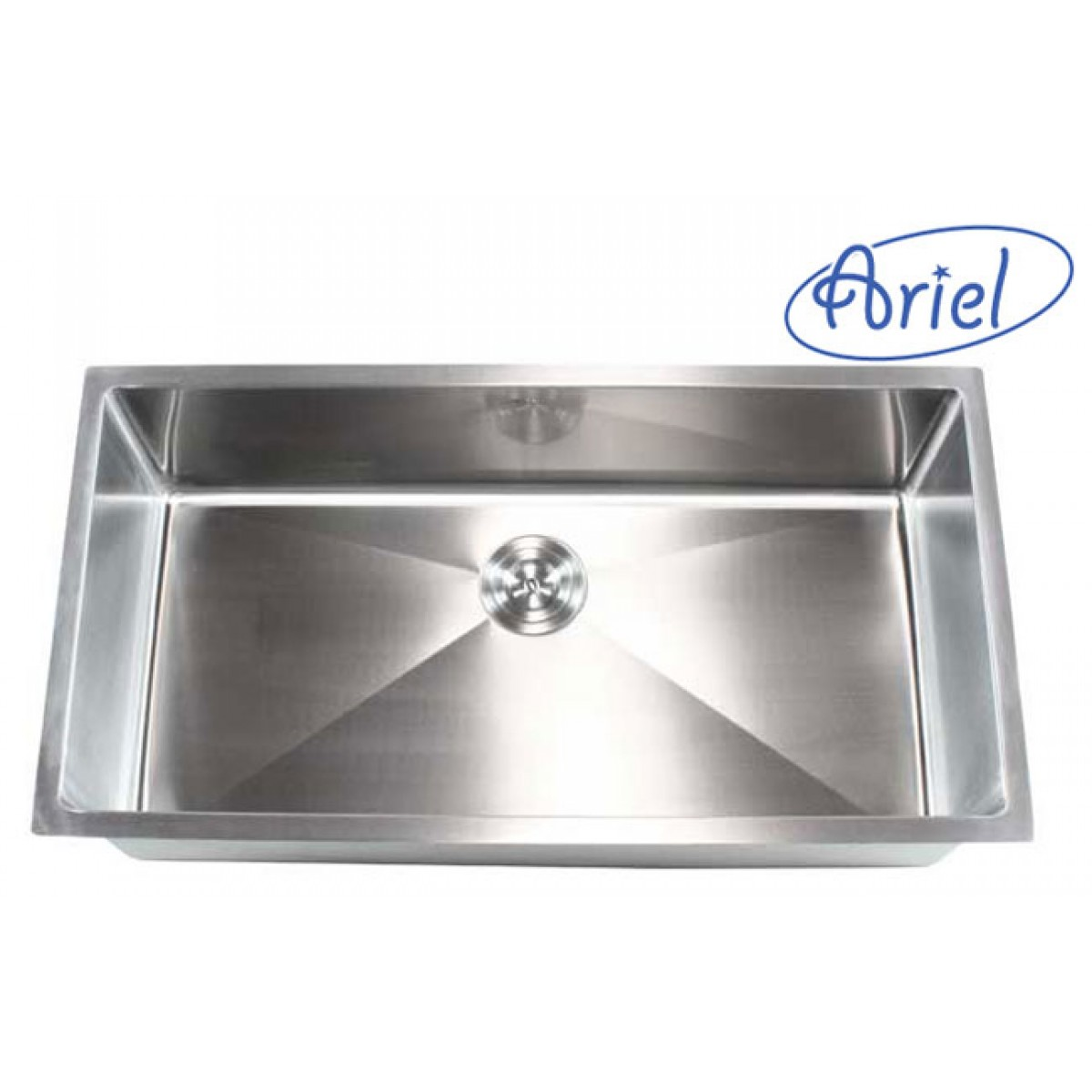 Ariel 36 inch stainless steel undermount single bowl for Designer stainless steel sinks