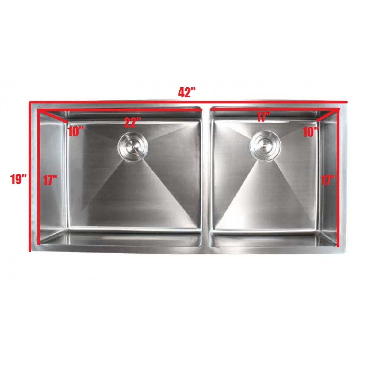 15 Contemporary Kitchen Designs With Stainless Steel: Ariel 42 Inch Stainless Steel Undermount Double Bowl
